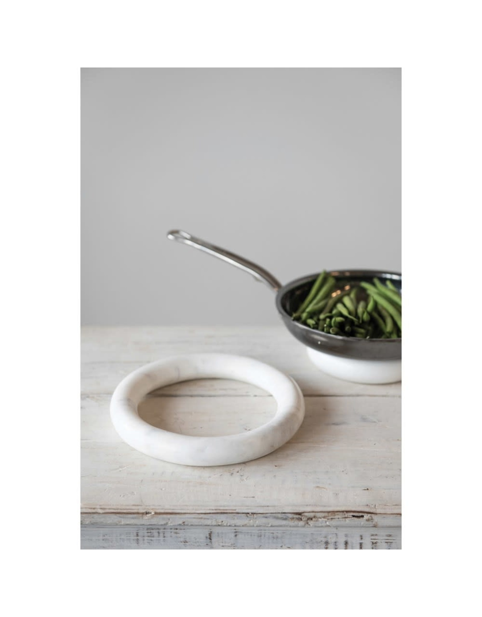 The Florist & The Merchant Marble Trivets, White,  Set of 2