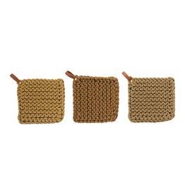 """The Florist & The Merchant 8"""" Cotton Knit Pot Holder w/leather strap"""