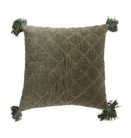 "The Florist & The Merchant 20"" Quilted Velvet Pillow"