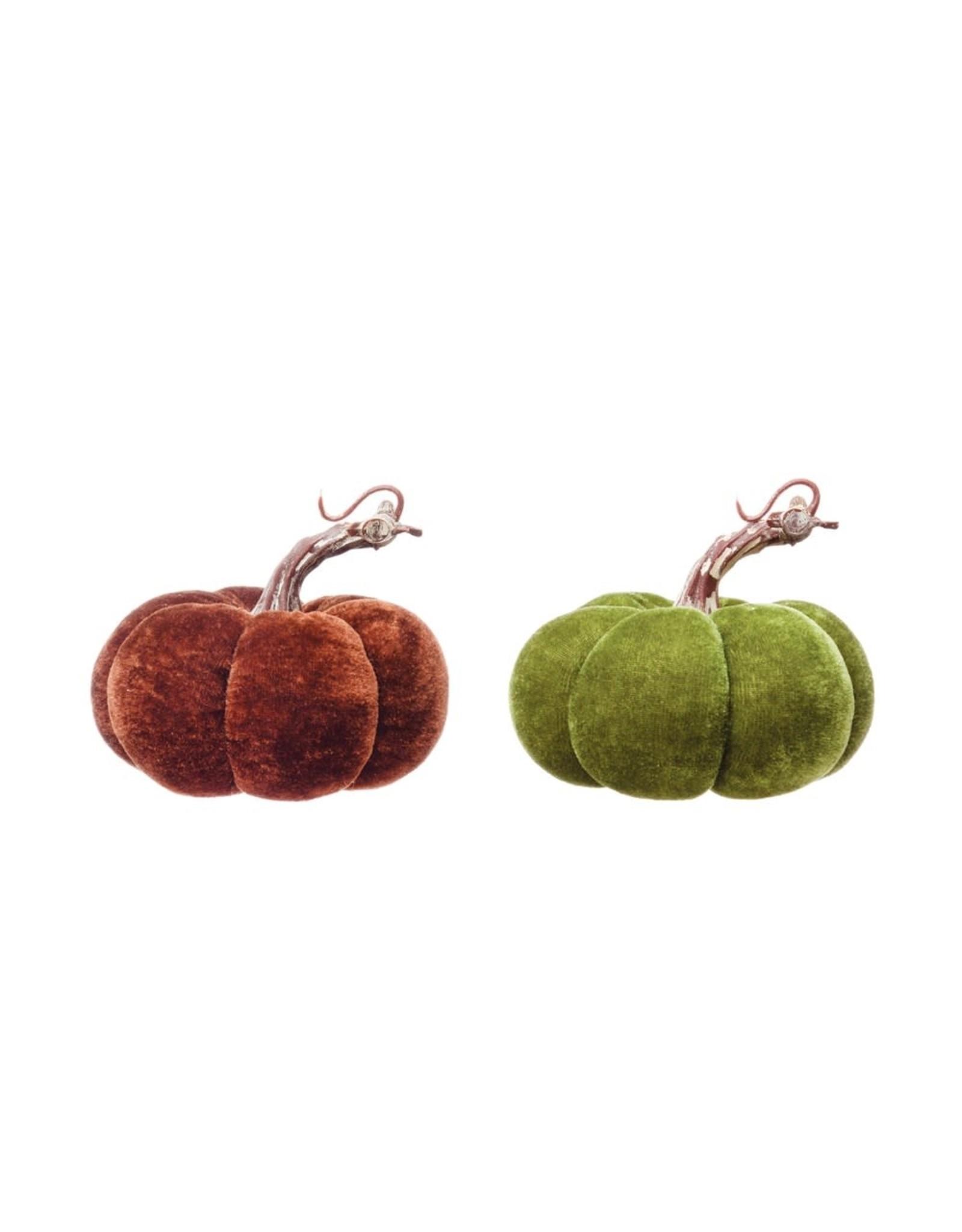 """The Florist & The Merchant 4"""" H Velvet Pumpkin w/ Resin Stem"""