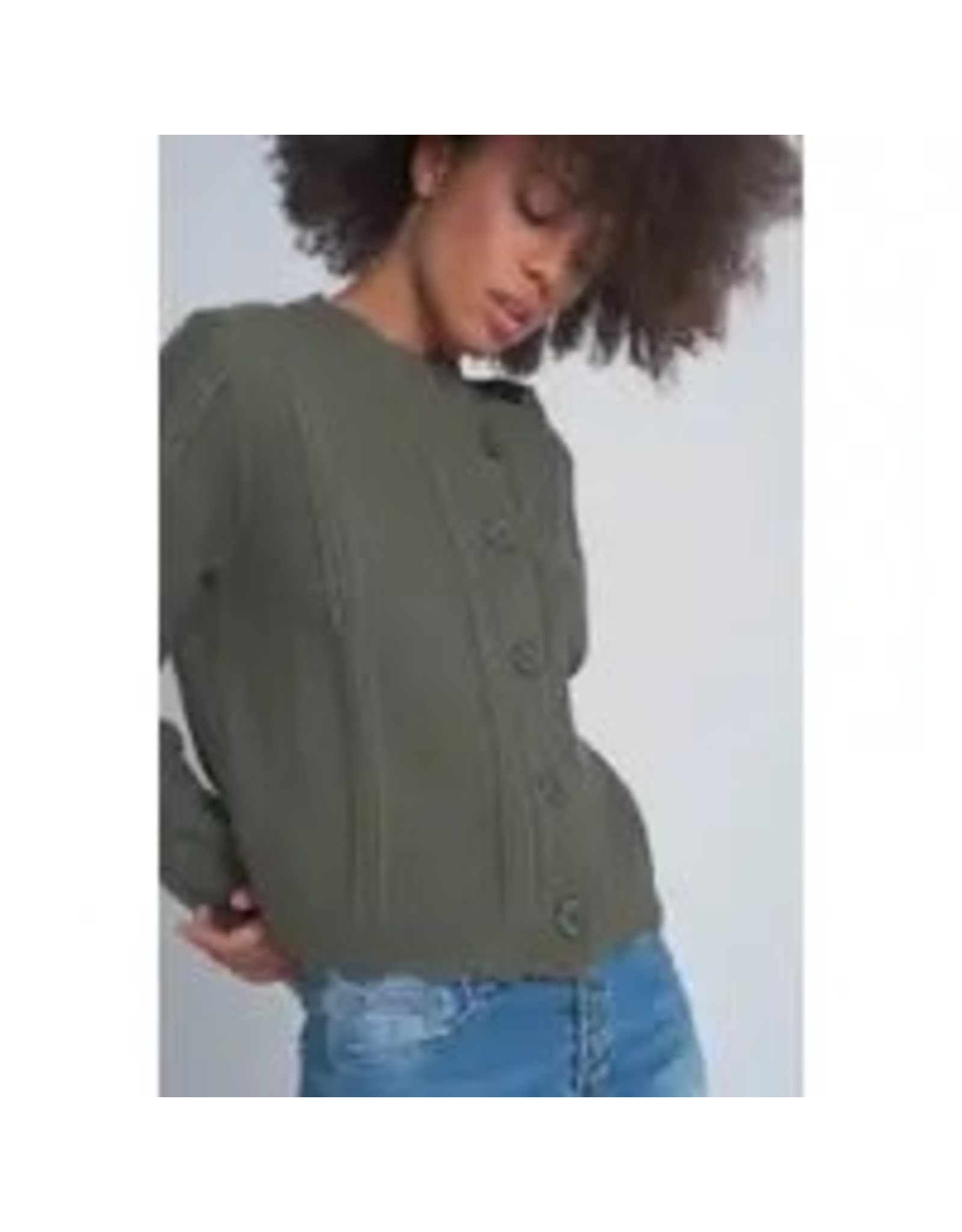 The Florist & The Merchant Button Front Cropped Sweater - Moss