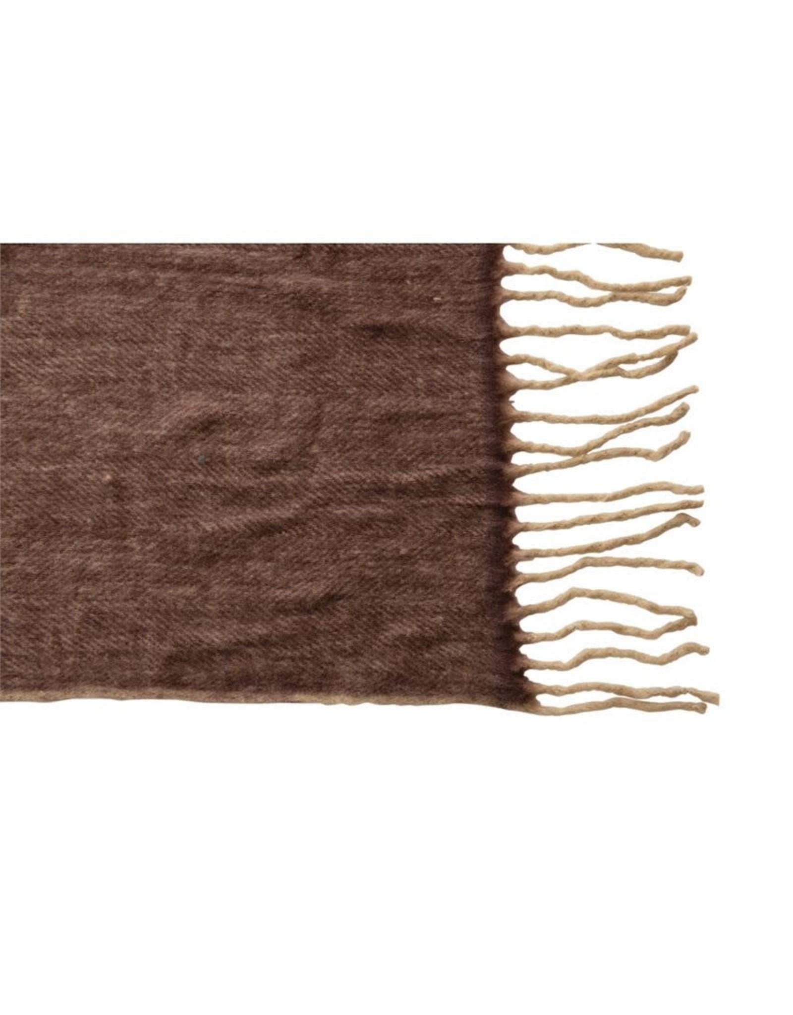 The Florist & The Merchant Wool & Acrylic Throw w/ Fringe - Plum