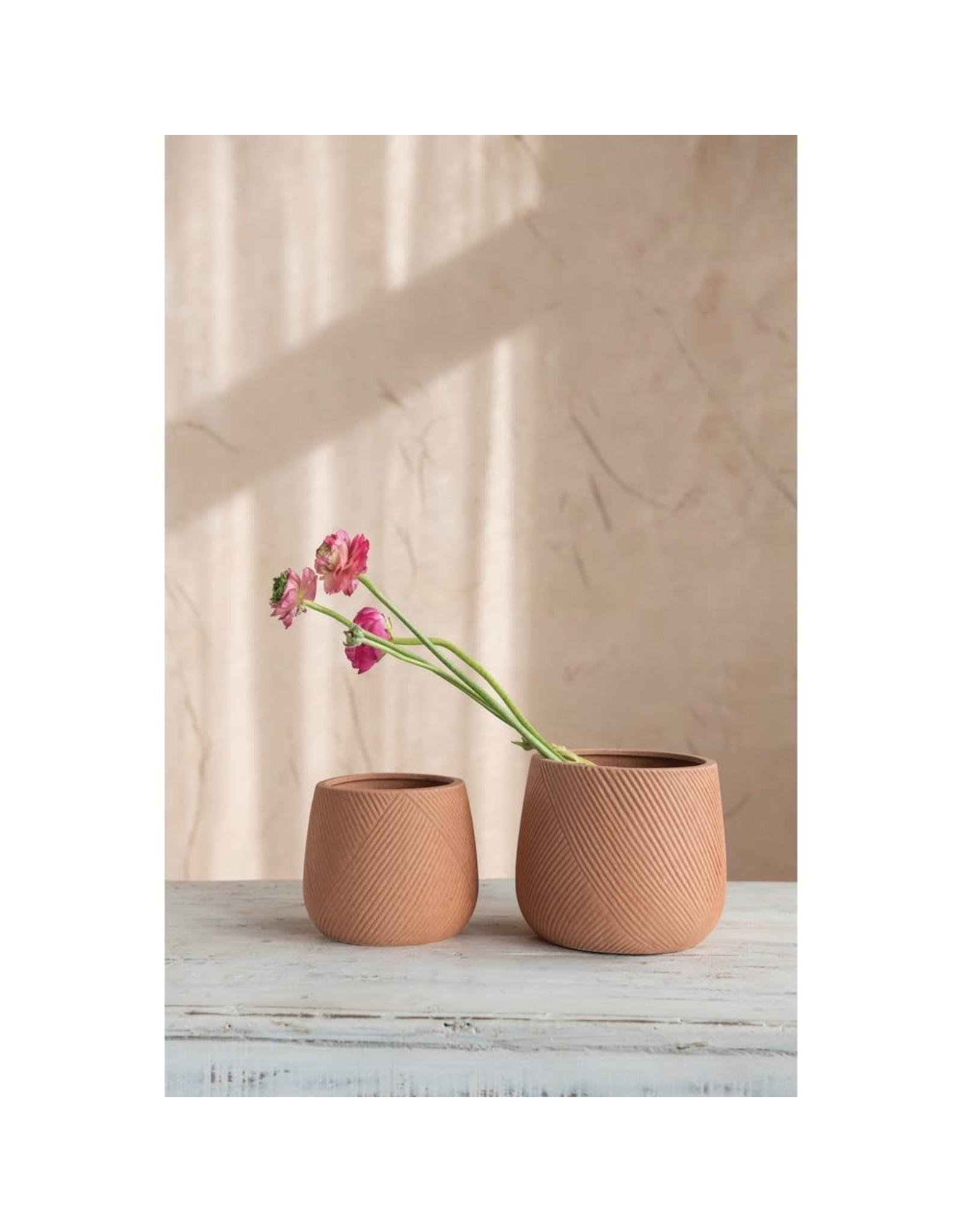The Florist & The Merchant Engraved Stone  Planter, Terra-cotta Color