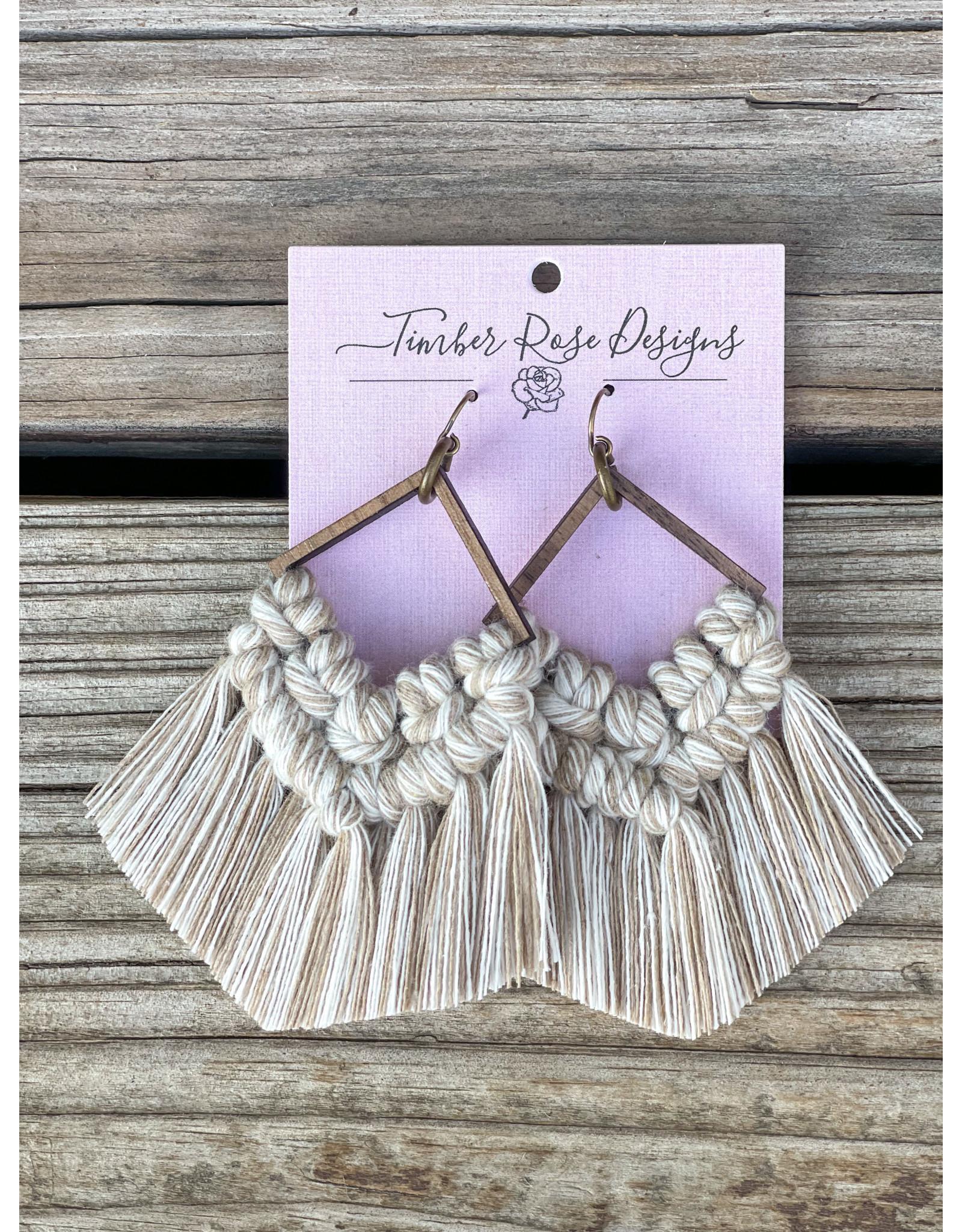 The Florist & The Merchant Diamond Fringe Macrame Earrings