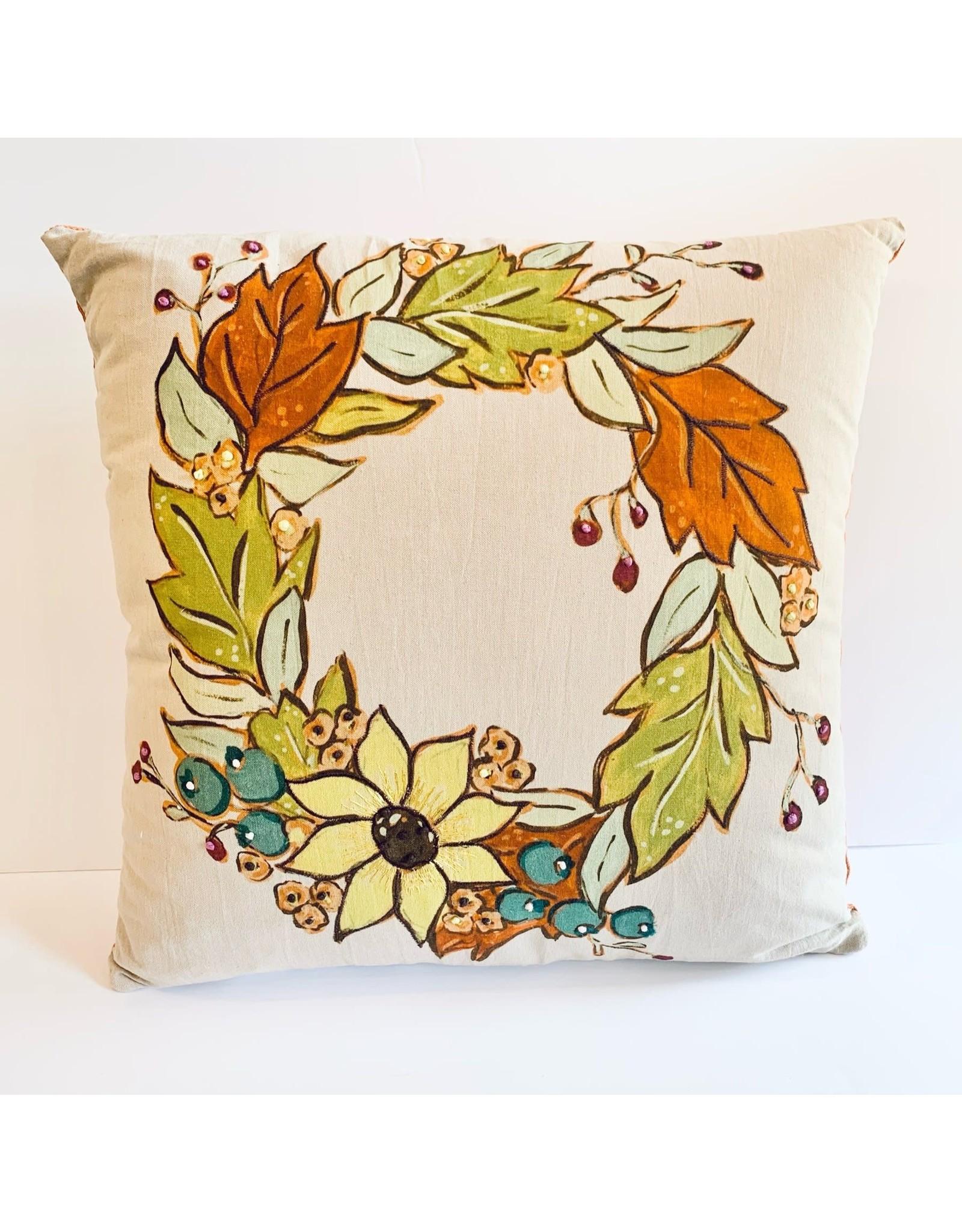 "The Florist & The Merchant 20"" Pillow w/Fall Wreath & Corduroy Back"