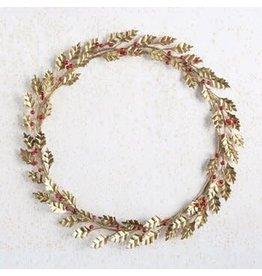 "The Florist & The Merchant 19"" Metal & Glass Bead Wreath w/ Leaves & Berries"