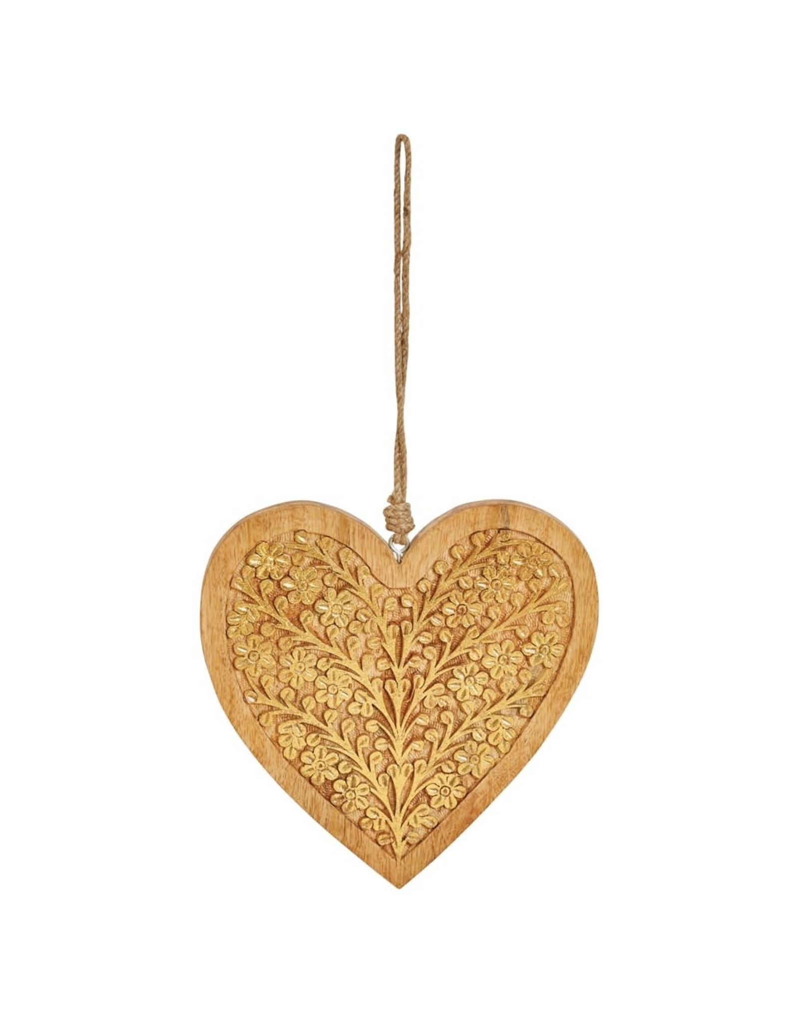 The Florist & The Merchant Hand-carved Wooden Heart Ornament, Gold Finish