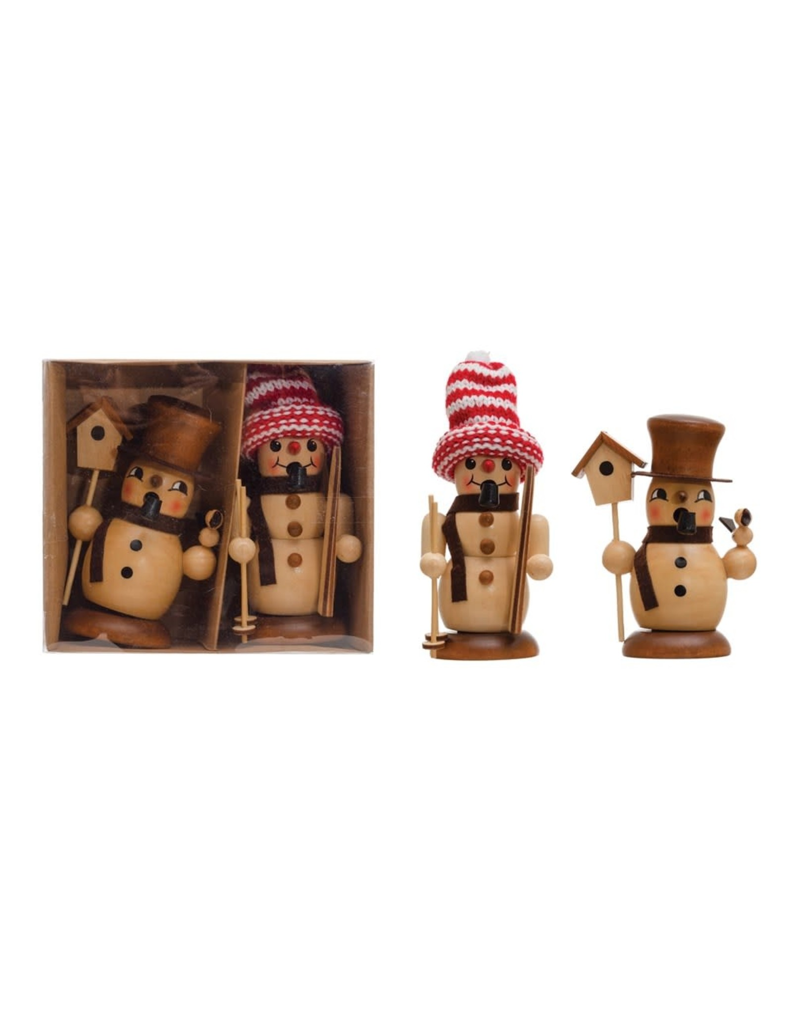 The Florist & The Merchant Wood Snowman Incense Burner
