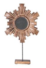 "The Florist & The Merchant 12"" Sunburst Mango Wood Mirror on Stand"
