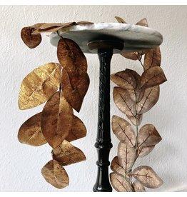 "The Florist & The Merchant 66"" L Faux Leaf Garland w/ Gold Glitter"
