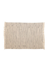 """The Florist & The Merchant 60"""" L  Recycled Cotton Throw w/ Stripes & Fringe"""