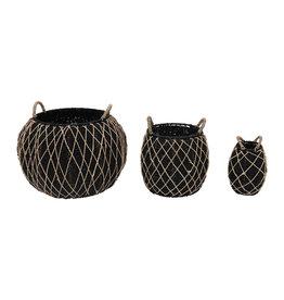 The Florist & The Merchant Round Metal Frame Seagrass Basket, Black