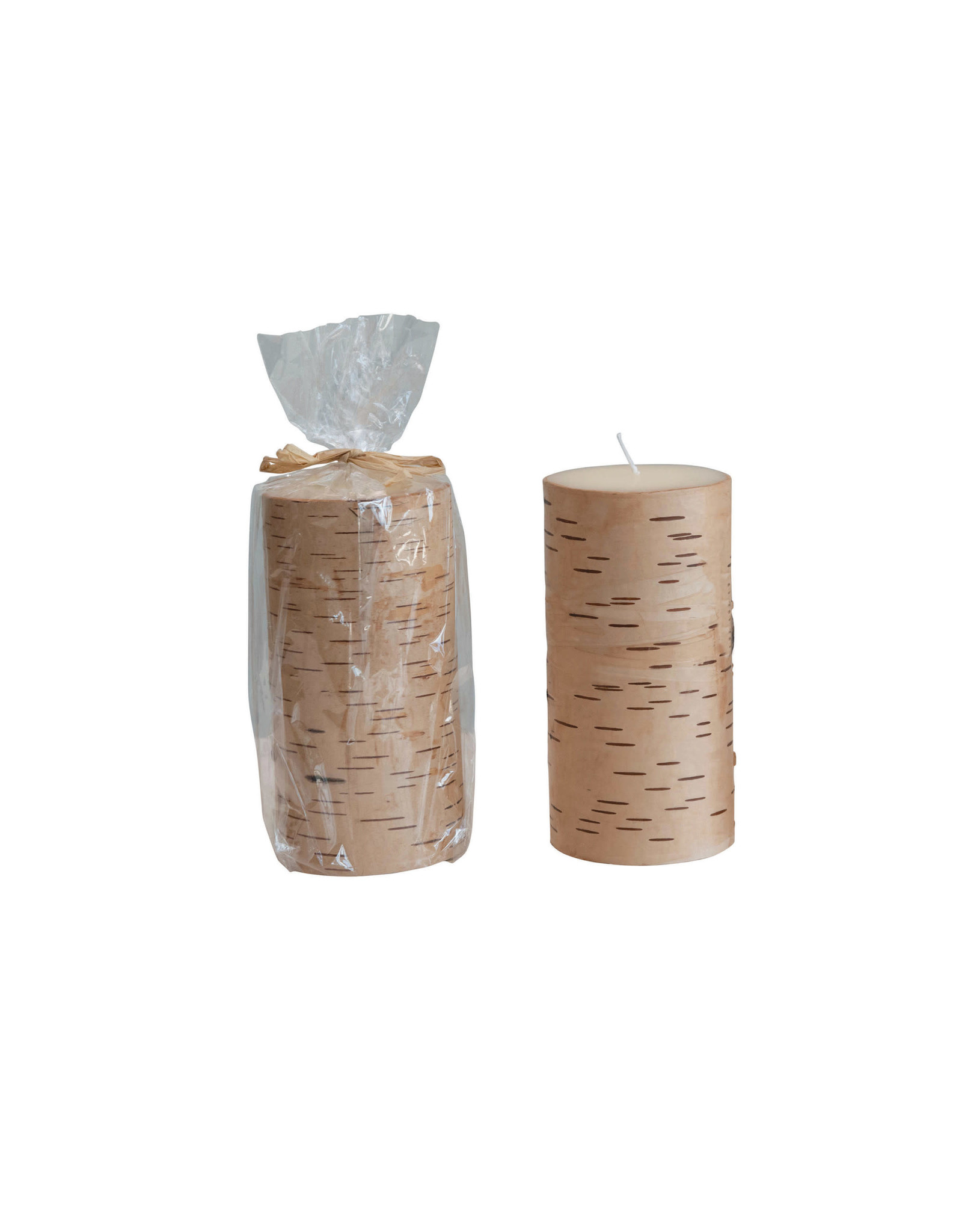 The Florist & The Merchant Birch Wrapped Pillar Candles