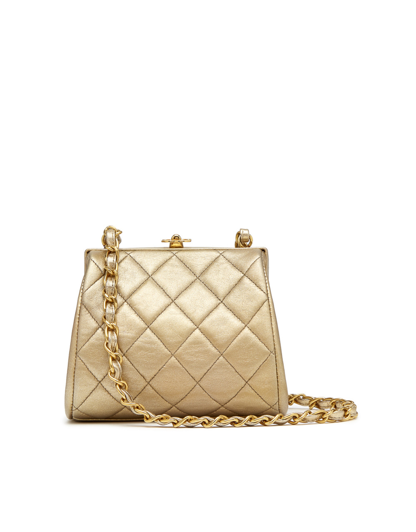 What Goes Around Comes Around Chanel Gold Lambskin Mini Bag (Color: Gold)