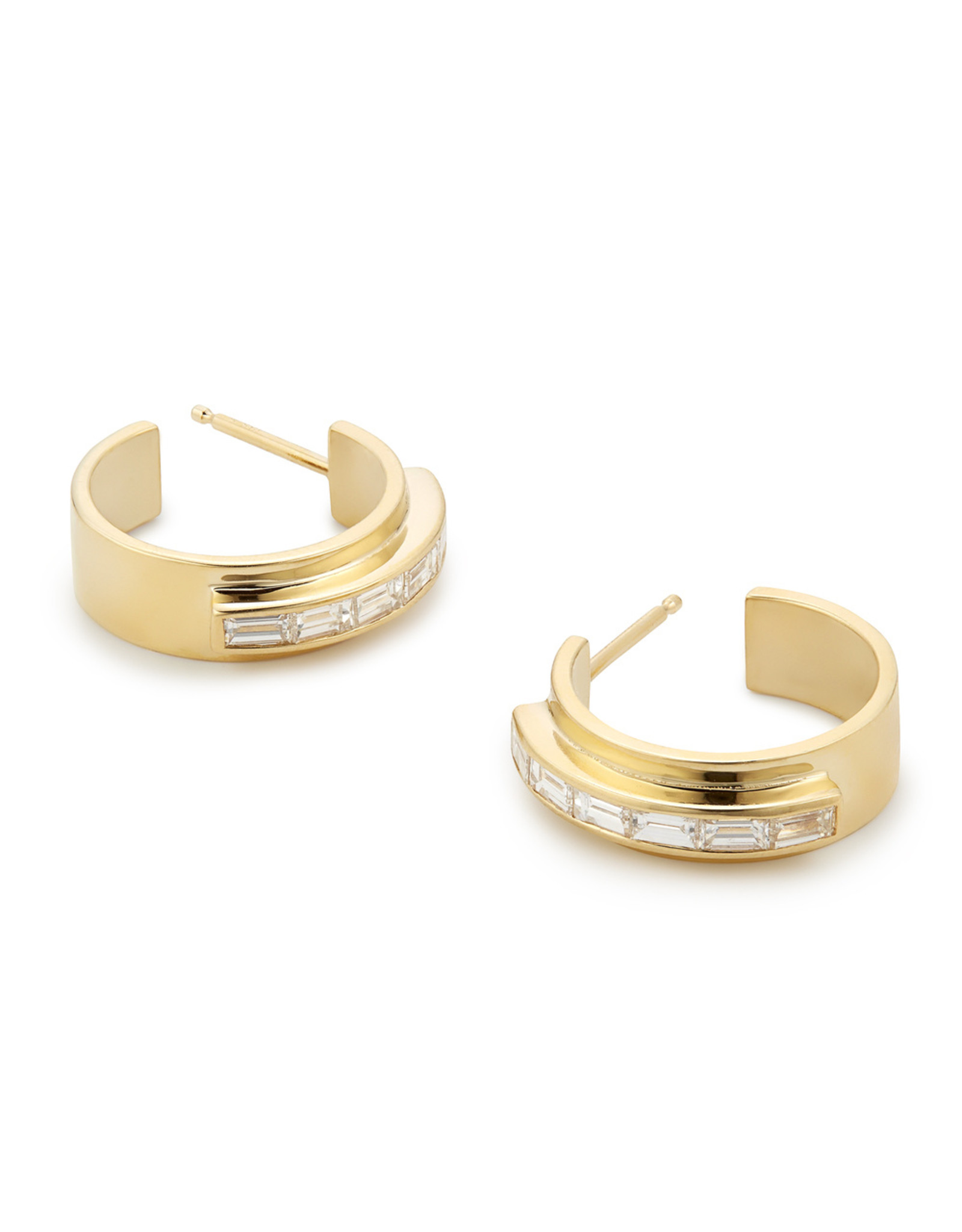 Azlee Azlee Twilight Baguette Diamond Hoops - Yellow Gold / White Diamond