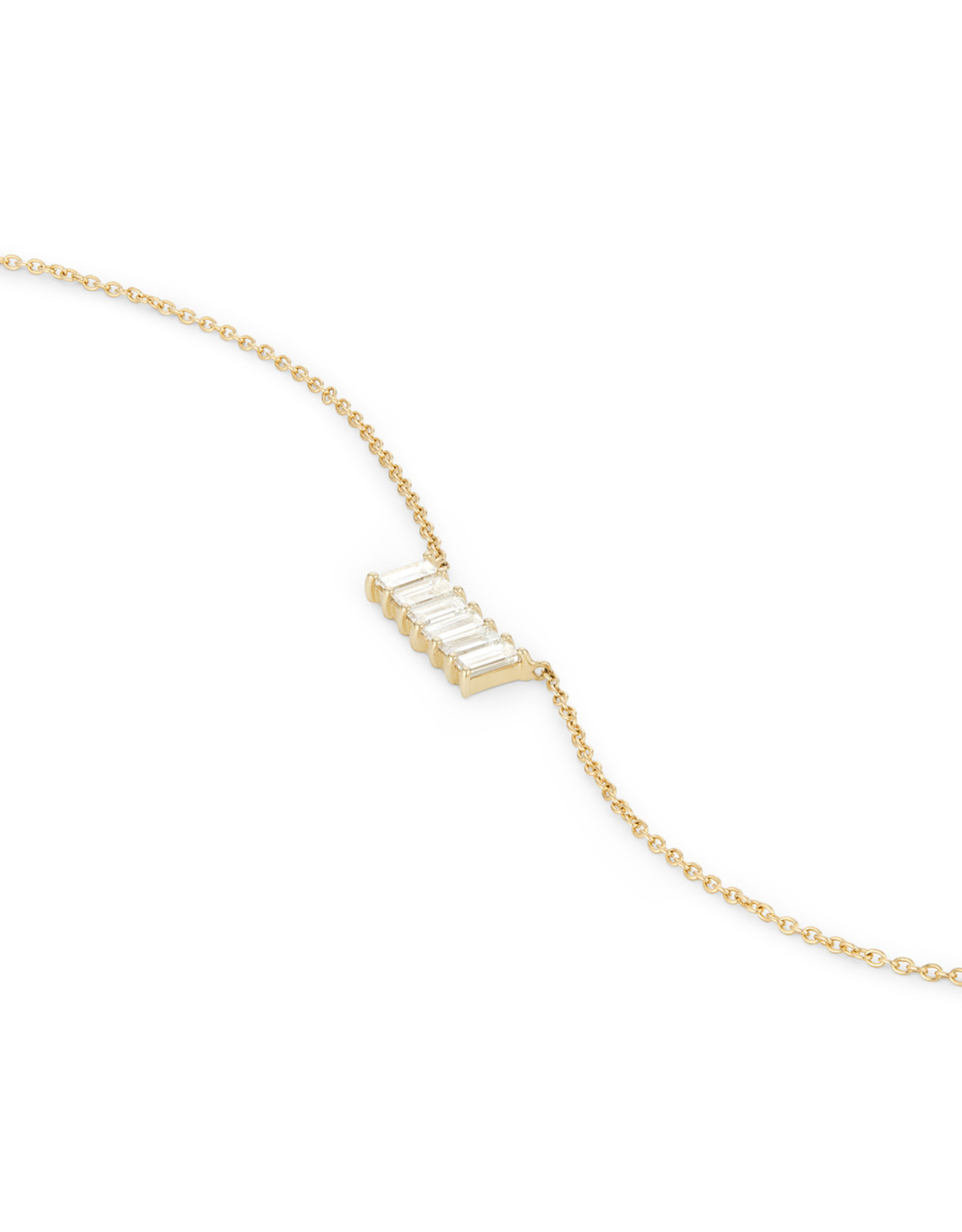 Eriness Eriness Diamond Baguette Staple Necklace - Yellow Gold / White Diamonds