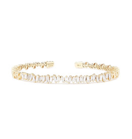 Suzanne Kalan Suzanne Kalan Baguette Diamond Firework Bangle (Yellow Gold/White Diamond)