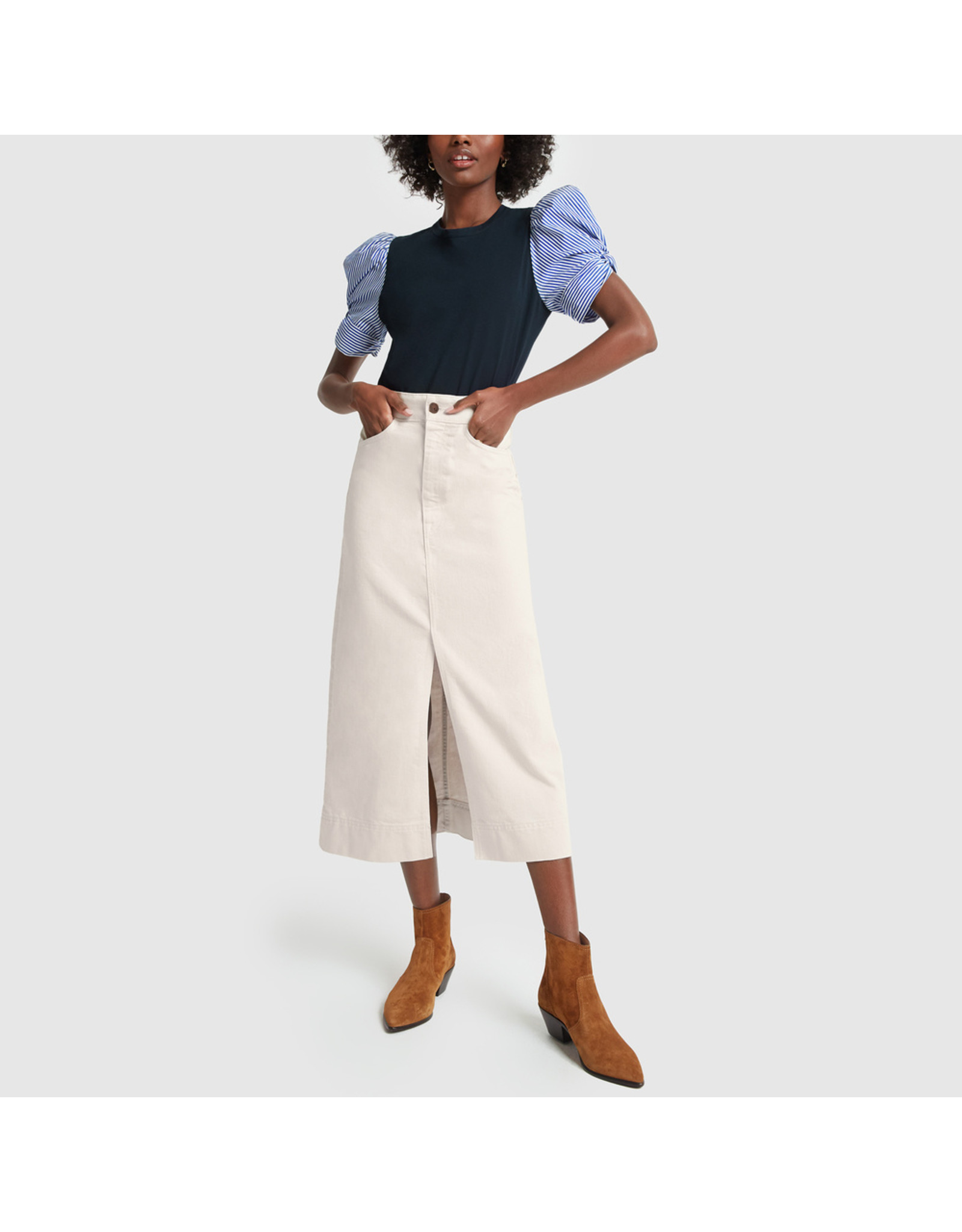 G. Label G. Label Yu Denim Pencil Skirt (Size: 26, Color: Natural)
