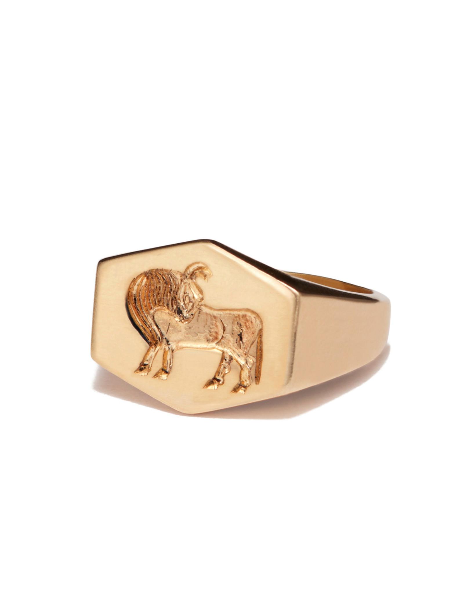 Kim Dunham Kim Dunham Zodiac Sign Gold Rings (Size: 7, Zodiac Sign: Taurus, Color: Yellow Gold)