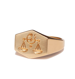 Kim Dunham Kim Dunham Zodiac Sign Gold Rings (Size: 7, Zodiac Sign: Libra, Color: Yellow Gold)