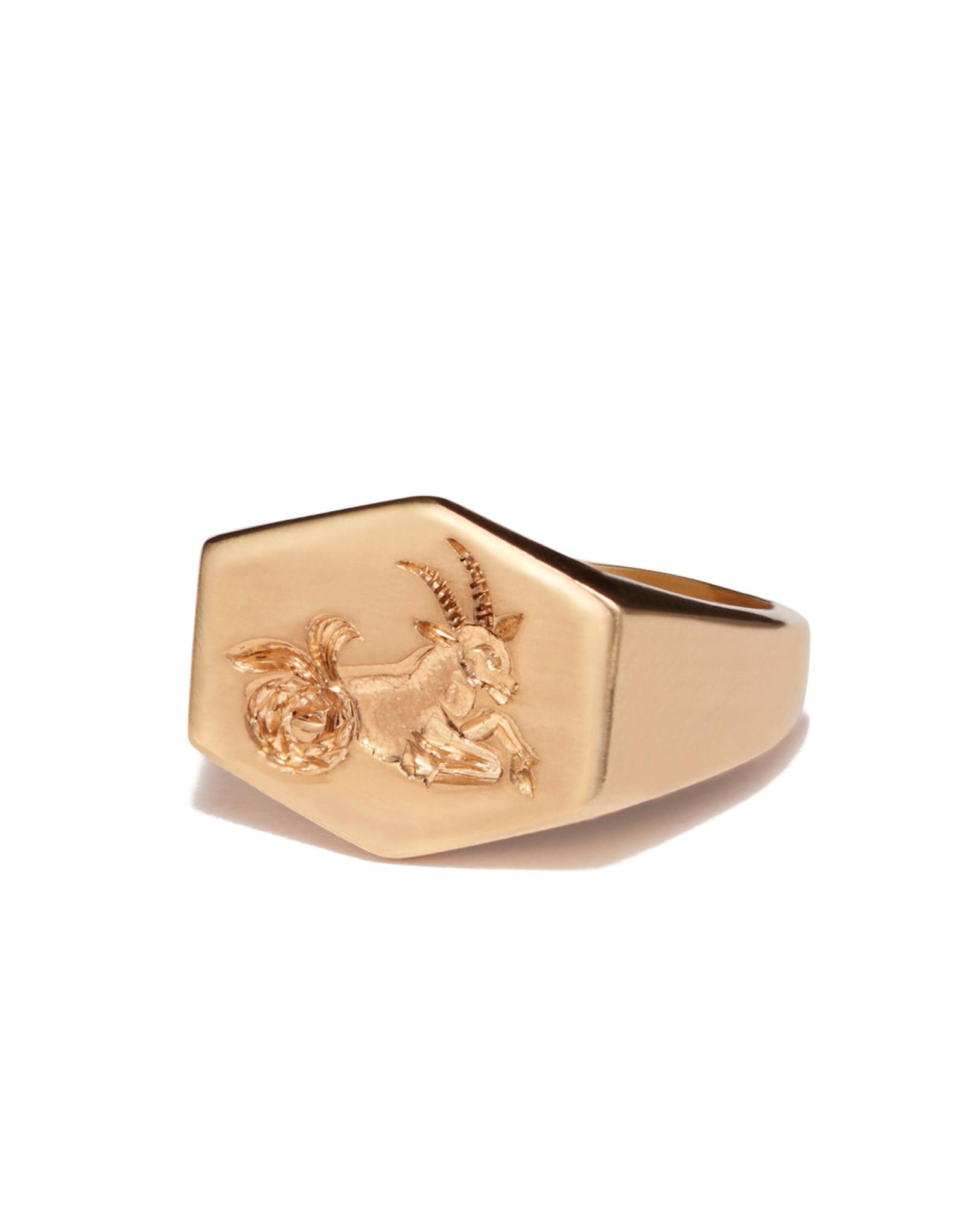 Kim Dunham Kim Dunham Zodiac Sign Gold Rings (Size: 7, Zodiac Sign: Capricorn, Color: Yellow Gold)