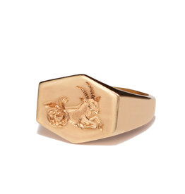 Kim Dunham Kim Dunham Zodiac Sign Gold Rings (Size: 7, Zodiac Sign: Capricorn, Color: Yellow Gold)