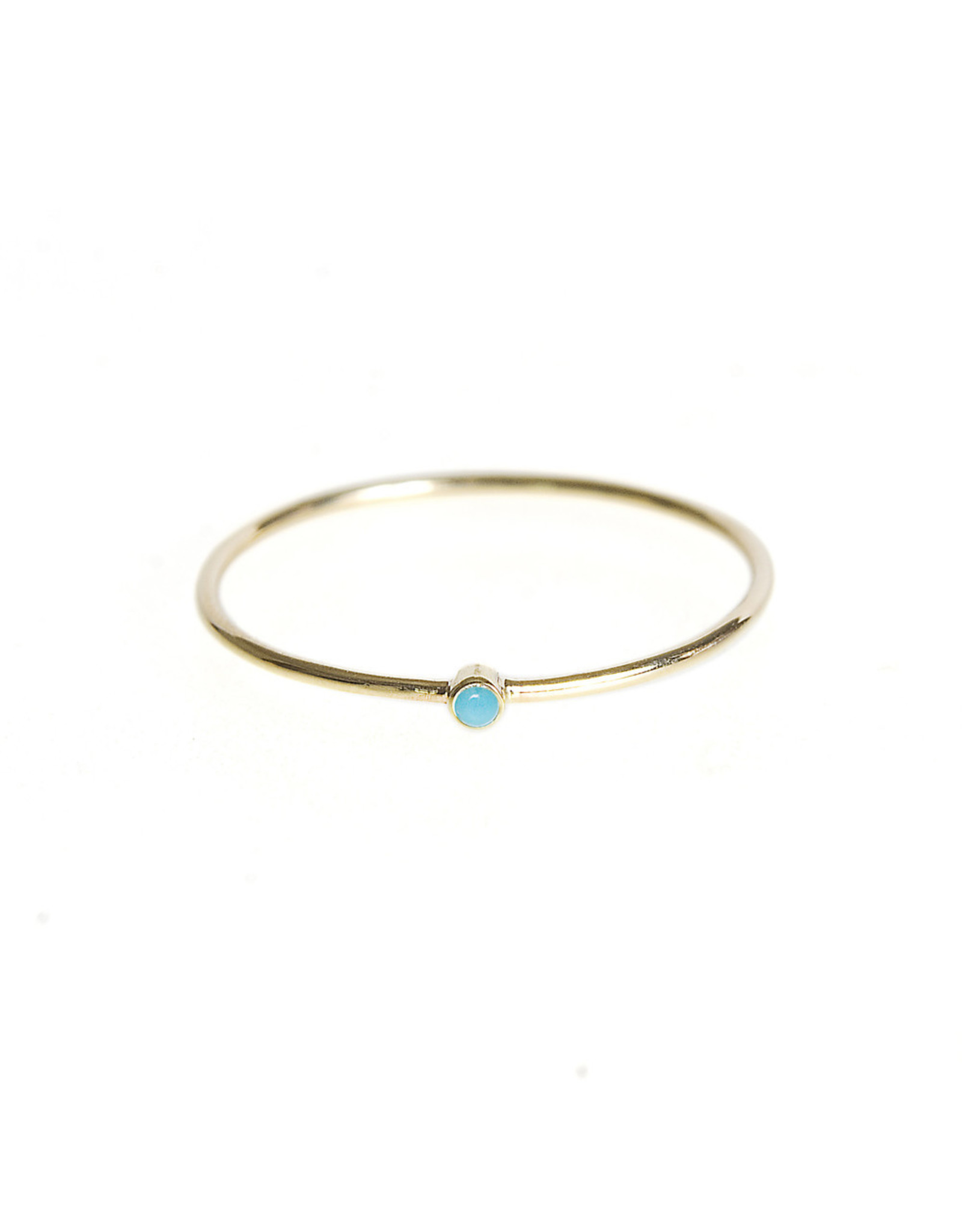 Jennifer Meyer Jennifer Meyer Thin Ring With Turquoise - Turquoise / 18K Yellow Gold - (Size: 6.5)