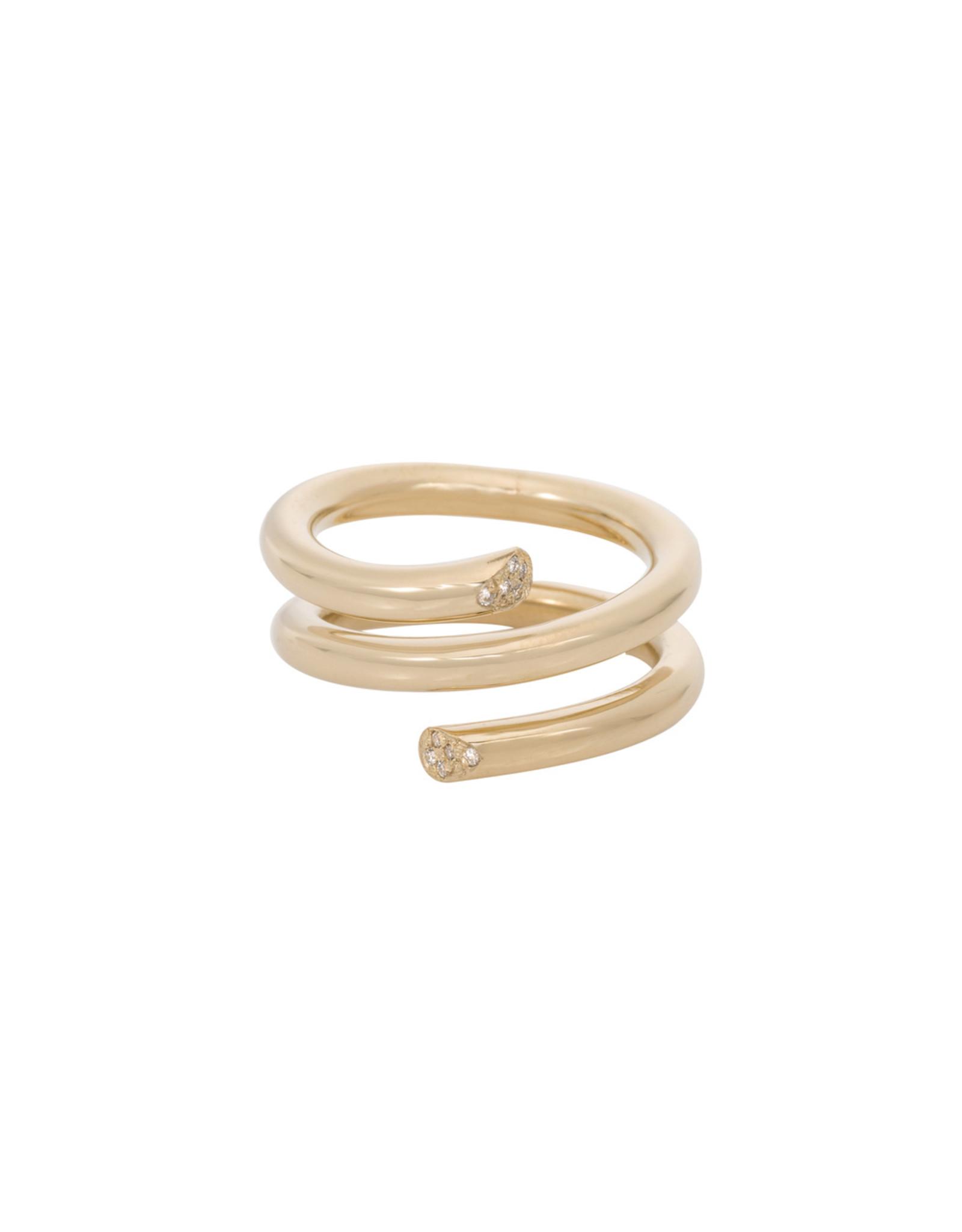 Ariel Gordon Ariel Gordon Pavé Spring Ring (Color: Yellow Gold, Size: 7)