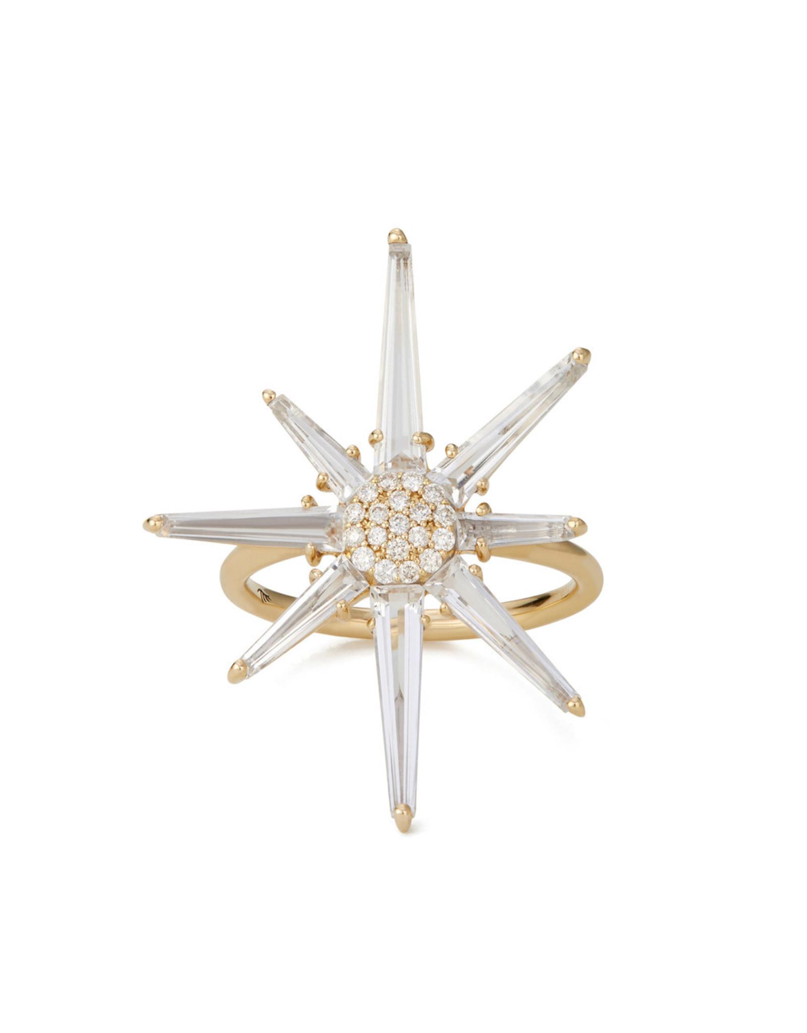 Bondeye Jewelry Bondeye Hera Diamond Ring (Color: Yellow Gold / White Topaz / White Diamond, Size: 6)