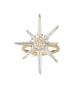 Bondeye Jewelry Bondeye Hera Diamond Ring (Color: Yellow Gold / White Topaz / White Diamond, Size: 6)