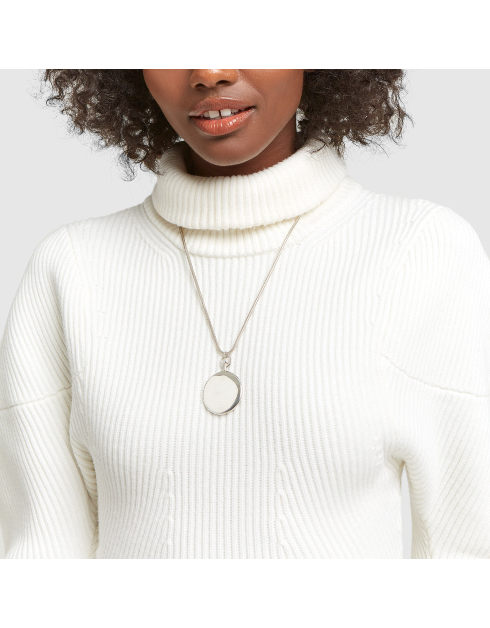 Sophie Buhai Sophie Buhai Long Large Circle Pendant (Color: Sterling Silver)