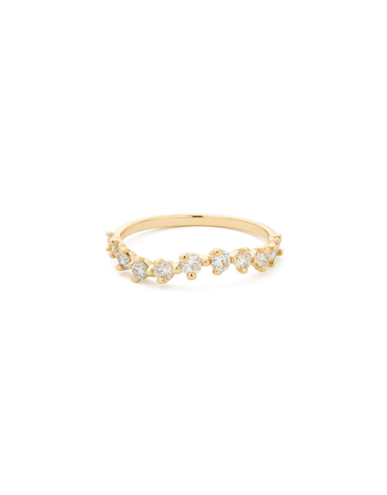 Sophie Ratner Sophie Ratner Half Band Diamond Swell Ring - Yellow Gold / White Diamonds (Size: 7)