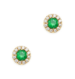 Suzanne Kalan Suzanne Kalan Emerald Mini Circle Stud Earrings (Color: Yellow Gold / Diamond / Emerald)
