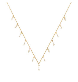 Suzanne Kalan Suzanne Kalan Diamond Baguette Drops Necklace (Color: Yellow Gold / White Diamonds)