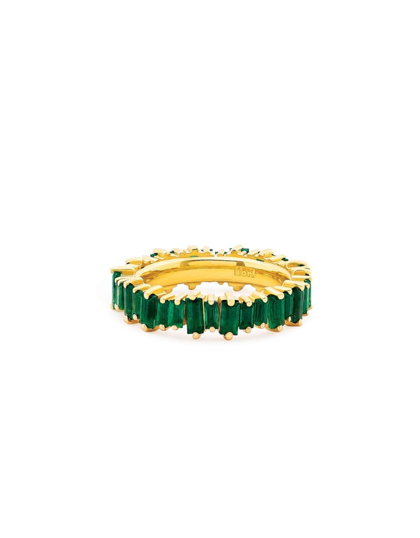 Suzanne Kalan Suzanne Kalan Emerald Baguette Band (Size: 6.5, Color: Yellow Gold / Emerald)