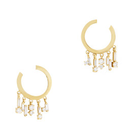 Suzanne Kalan Suzanne Kalan Curved Mini Hoop Earrings (Color: Yellow Gold / White Diamonds)
