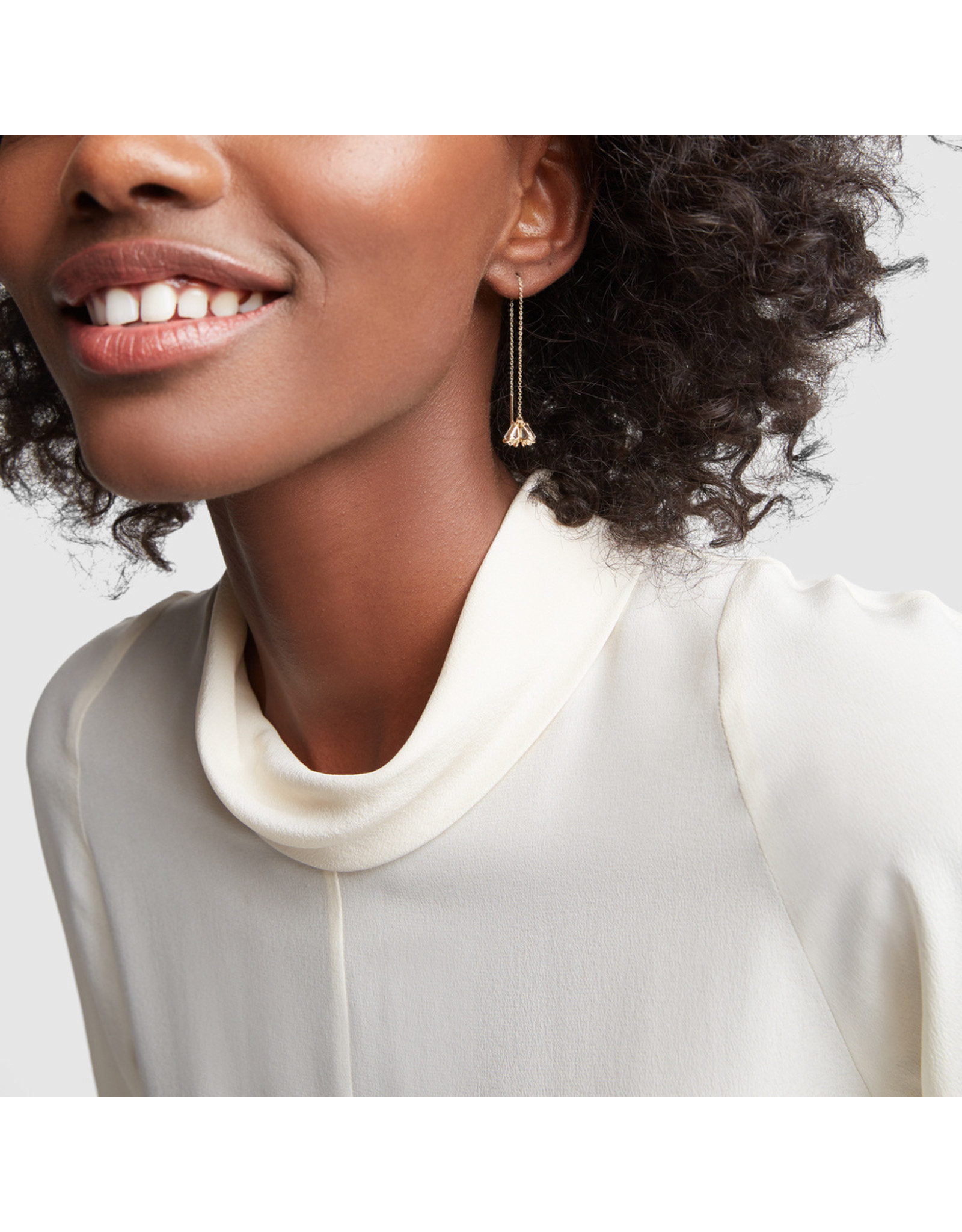 Bondeye Jewelry Bondeye Trois White Topaz Earrings - Yellow Gold