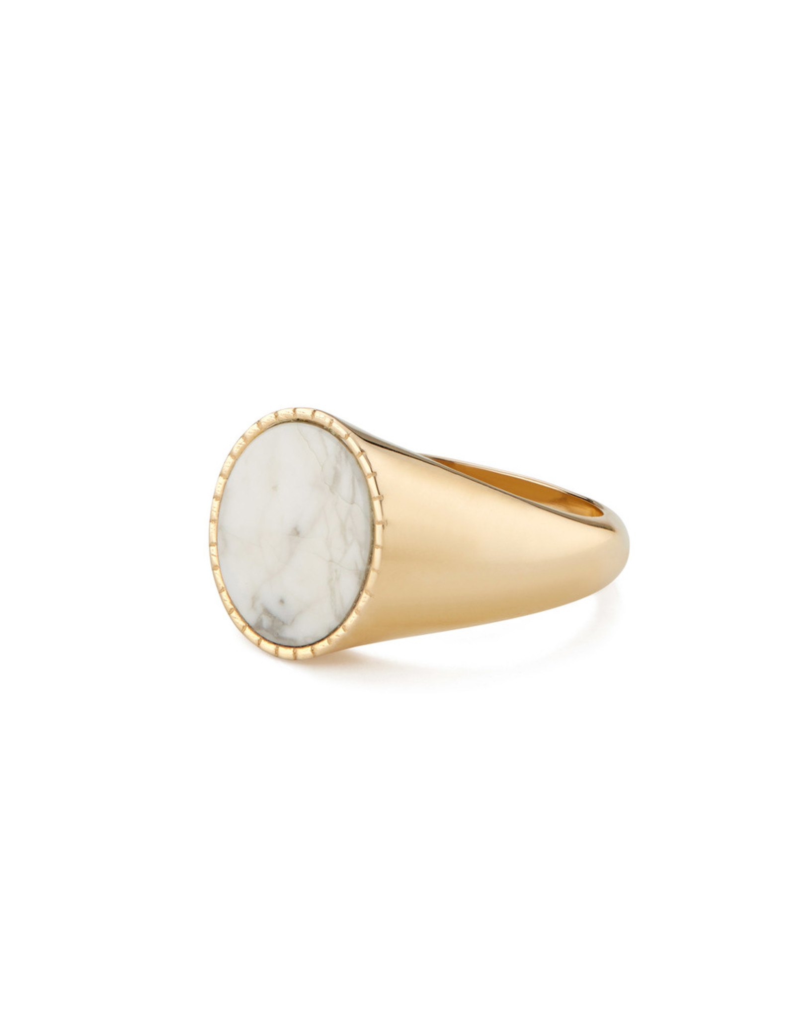 Bondeye Jewelry Bondeye Markle 14K Yellow-Gold Howlite Ring (Color: Yellow Gold / Howlite, Size: 6)