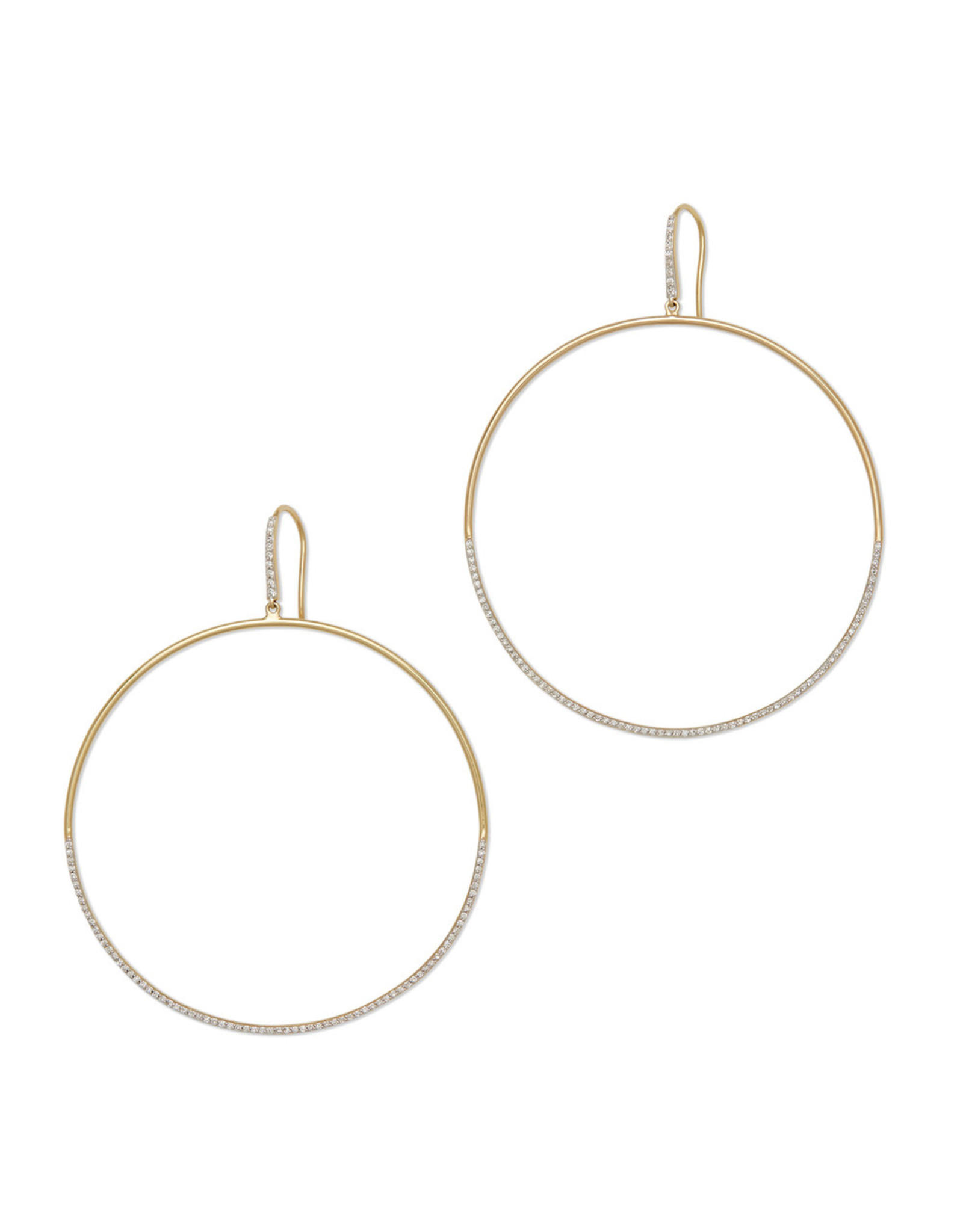 Eriness Eriness Diamond Drop Yellow-Gold Hoops (Color: Yellow Gold)