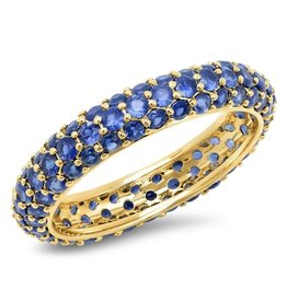 Eriness Eriness Blue Sapphire Domed Ring  - Yellow Gold (Size: 6)