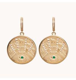 Marlo Laz Marlo Laz Talisman Coin Earrings 14kt YG White Diamond, Emerald (Color: Yellow Gold / White Diamond)