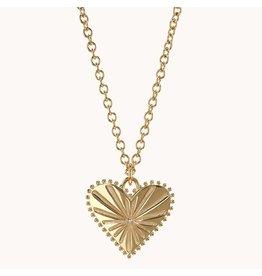 "Marlo Laz Marlo Laz Pour Tujours Heart Coin Necklace 14kt YG White Diamonds 16"" Cable Chain (Color: Yellow Gold / White Diamond)"