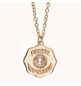 """Marlo Laz Marlo Laz Porte Bonheur Coin Necklace 14kt YG White Pearl 16"""" Cable Chain (Color: Yellow Gold / Pearl)"""