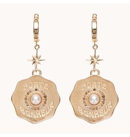 Marlo Laz Marlo Laz Porte Bonheur Coin Earrings 14kt YG White Pearl, White Diamonds (Color: Yellow Gold / Pearl)