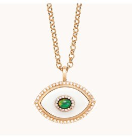 """Marlo Laz Marlo Laz Eyecon Necklace 14kt YG White Onyx, White Diamonds, Opal 16"""" Cable Chain (Color: Yellow Gold / Onyx / Opal)"""
