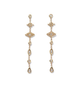 Jacquie Aiche Jacque Aiche Shining Star & Eye Diamond Drop Earrings (Color: 14K Yellow Gold)