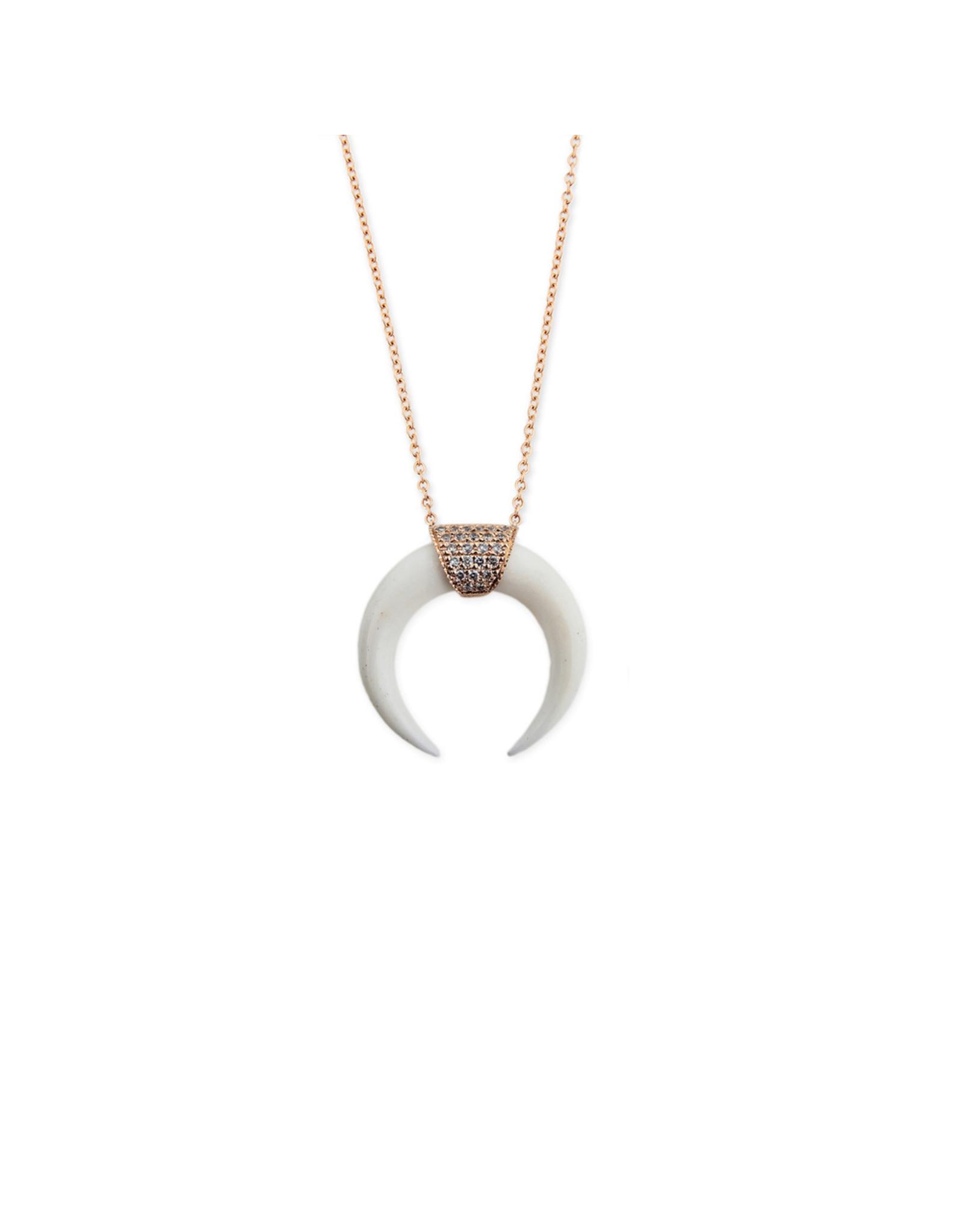 Jacquie Aiche Jacque Aiche Double Bone Horn Necklace (Color: 14K Yellow Gold)
