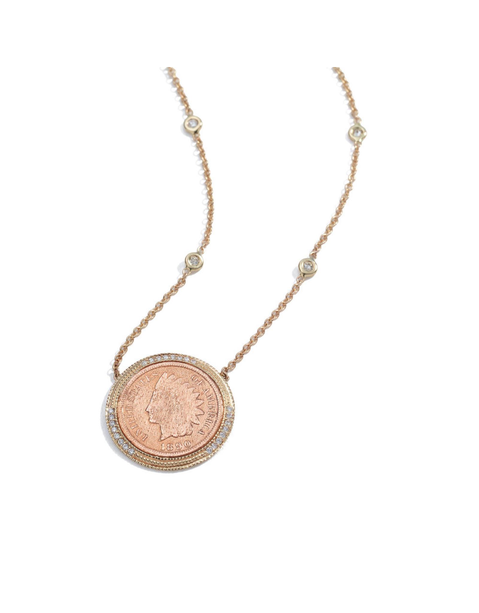 Jacquie Aiche Jacque Aiche Pavé & Copper Antique-Coin Necklace (Color: 14K Yellow Gold)