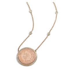 Jacquie Aiche Jacque Aiche Pavé & Copper Antique-Coin Necklace (Color: 14K Yellow Gold)