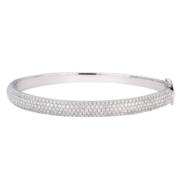 Sara Weinstock Sara Weinstock Veena Diamond Oval Bangle With Hinge - White Gold